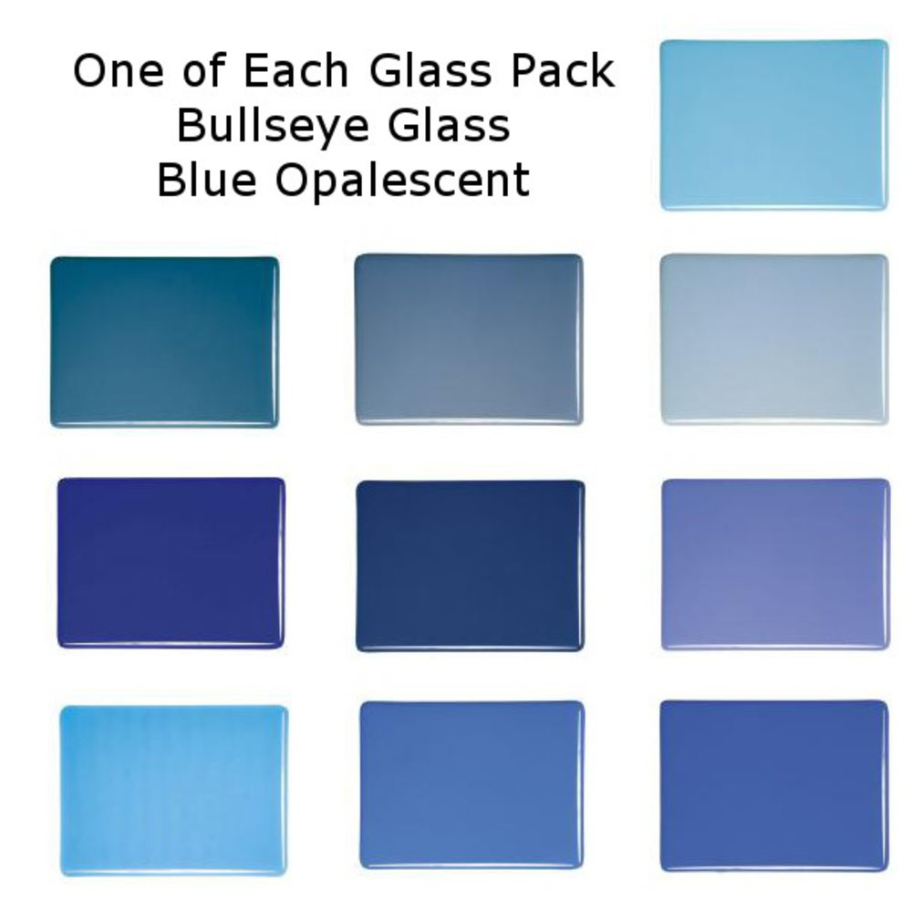 One of Each Glass Packs Bullseye Glass Blue Opalescent Double-rolled 3mm COE90