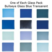 One of Each Glass Packs Bullseye Glass Blue Transparent Double-rolled 3mm COE90