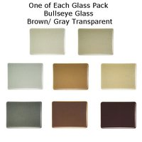 One of Each Glass Packs Bullseye Glass Brown/ Gray Transparent Double-rolled 3mm COE90