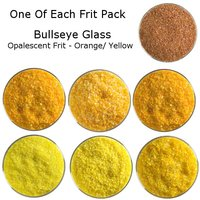 One of Each Frit Packs - Bullseye Glass Orange/ Yellow Opalescent Frit - COE90