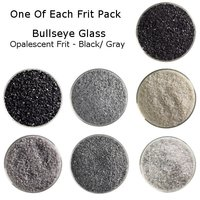 One of Each Frit Packs - Bullseye Glass Black/ Gray Opalescent Frit - COE90