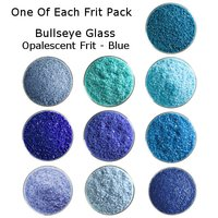 One of Each Frit Packs - Bullseye Glass Blue Opalescent Frit - COE90