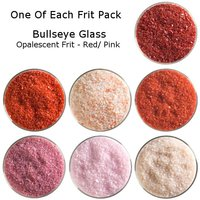 One of Each Frit Packs Bullseye Glass Red/ Pink Opalescent Frit COE90