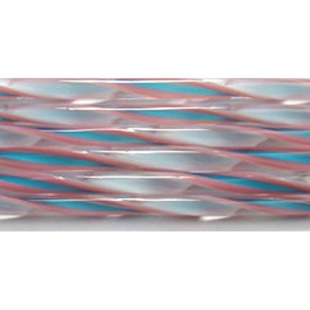 Pink, Turquoise and White Streamer Glass Cane COE90