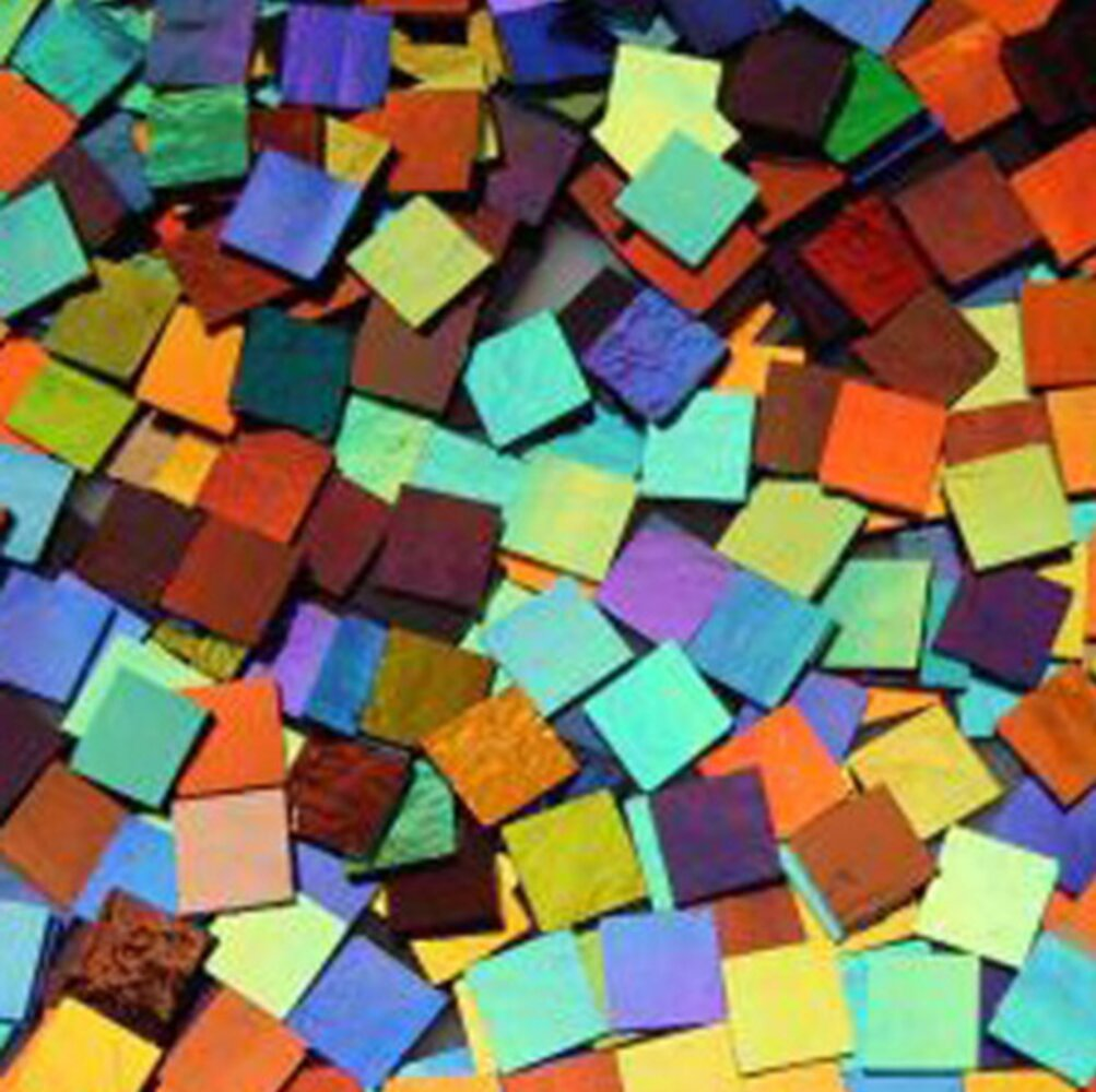 1/2 x 1/2 CBS Dichroic Solid Color Squares on 2mm Thin Glass. Mixed Lot of 20 Squares Per Pack. COE96