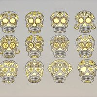 Gold and Black Sugar Skulls Decal Sheet