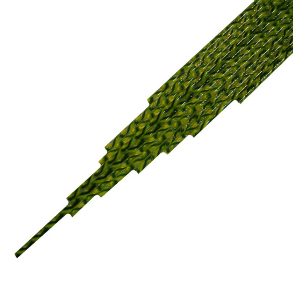 Twisted Cane Clear with Dark Green and Lemongrass Single Twist Cane COE96