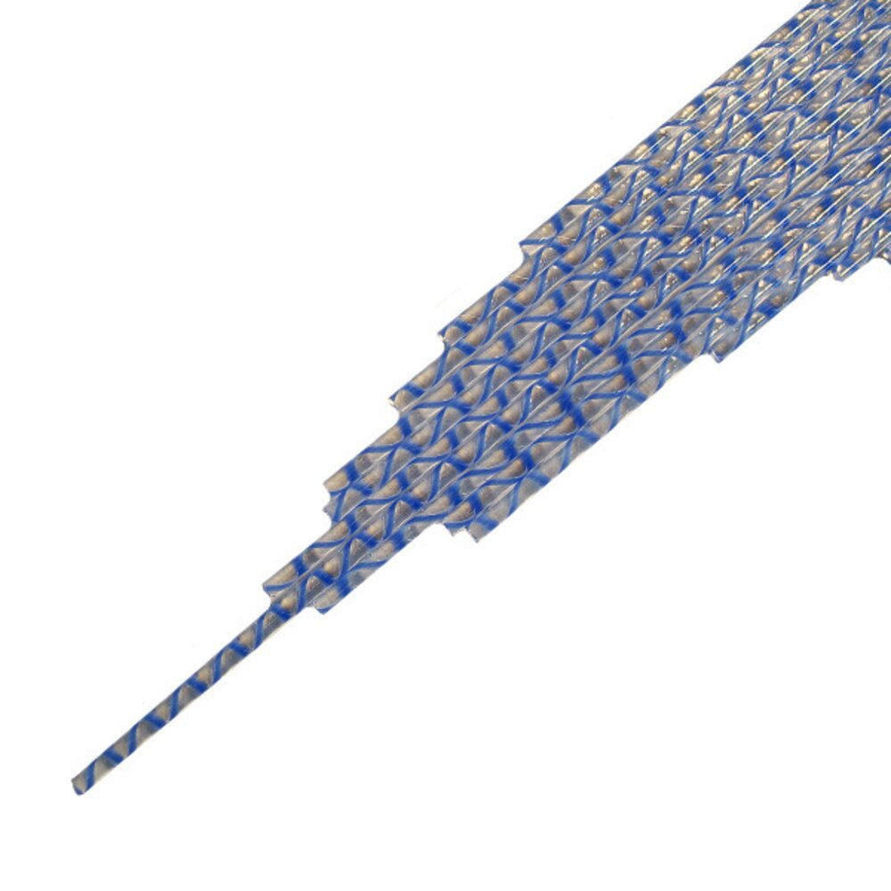 Twisted Cane Clear with Medium Blue Opalescent Single Twist Cane COE96