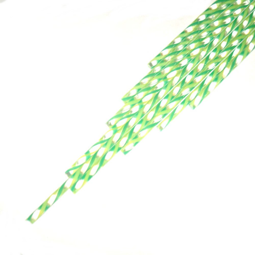 Twisted Cane Clear with Spring Green and Jade Green Single Twist Cane COE90